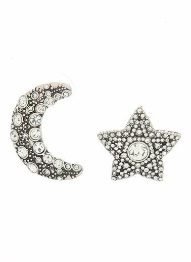 Agenda Ay Yıldız Motifli Taşlı Küpe Gümüş